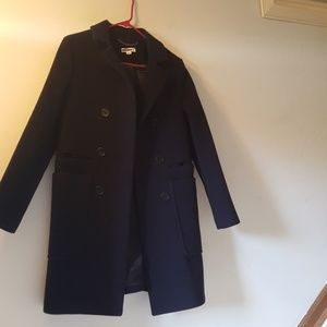 whistles cocoon coat in navy blue